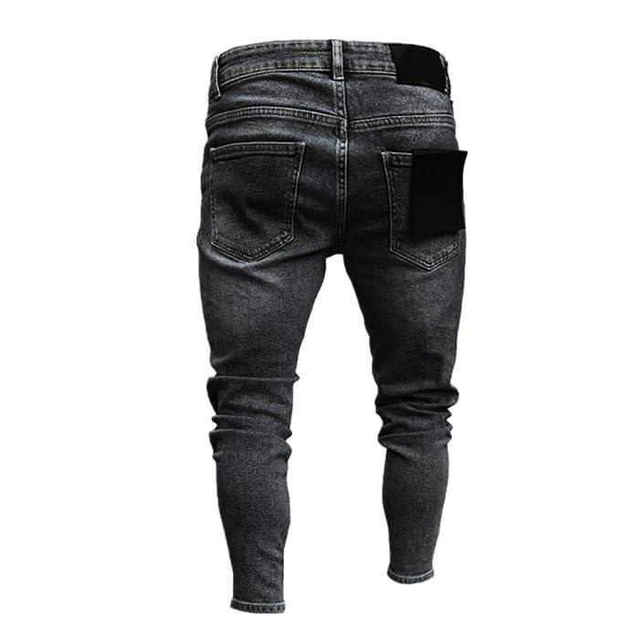 Chickwin Pantalones Vaqueros Hombre Rotos, Skinny Slim Fit Insignia Largos de Mezclilla de Cintura Baja de Pitillo Deportivos Elástico Cremallera Rota ...