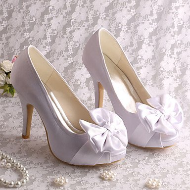 RTRY Las Mujeres'S Wedding Shoes Bomba Básica De Satén Stretch Primavera Verano Vestido De Novia Bowknot Blanco Stiletto Talón 4A-4 3/4En Blanco Us5.5 / Ue36 / Uk3.5 / Cn35 US6.5-7 / EU37 / UK4.5-5 / CN37