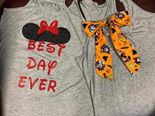 Handmade Disney Shirt with Bow on back ~ Best Day Ever ~ with MIckey Mouse & Minnie Mouse Halloween Detachable Bow on Back~ Mickey's Not So Scary Halloween -