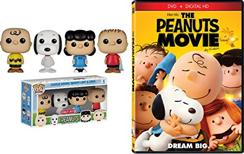 Peanuts Funko Pop Exclusive Mini Figures 4-pack Set Charlie Brown, Snoopy, Lucy, Linus with The Animated Movie
