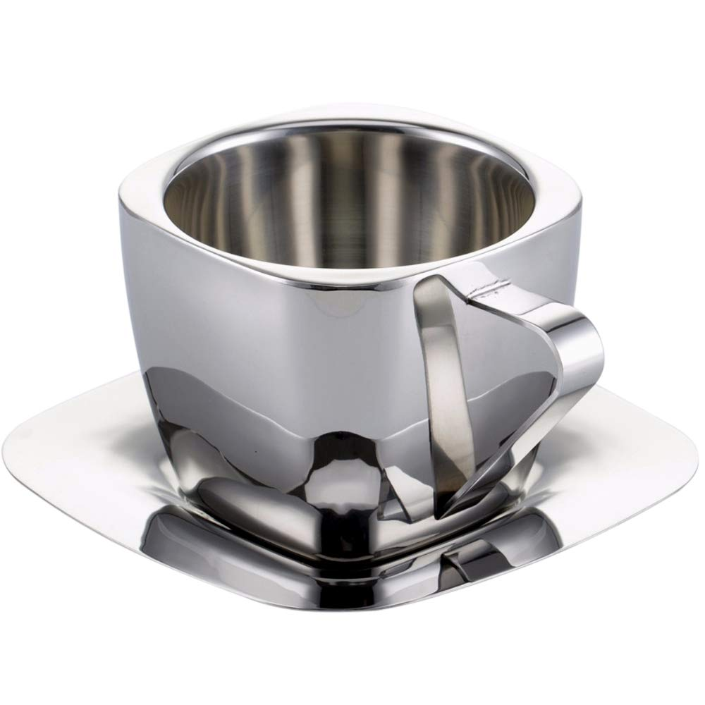 SODIAL Stainless Steel Coffee Cup Double Anti-Scalding Hand Insulation Hanging Ear Coffee Vacuum Square Milk Tea Cup Saucer Tea Cup For Travel And Camping Cup 90Ml
