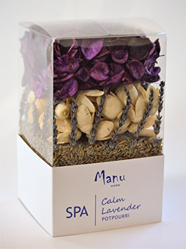 Manu Home CALM French Lavender SPA Potpourri Box ~ 12oz Box with Natural Botanicals & Pods ~ A refreshing blend of Lavender Flower Buds from Provence~ Made in USA!