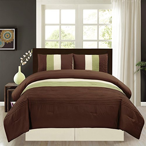 4 Piece KING Size SAGE GREEN / BROWN / BEIGE Pin Tuck Stripe Regatta Goose Down Alternative Comforter set 104