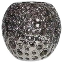 Essential Decor Entrada Collection Round Ceramic Vase, 9 by 7.75-Inch, Silver