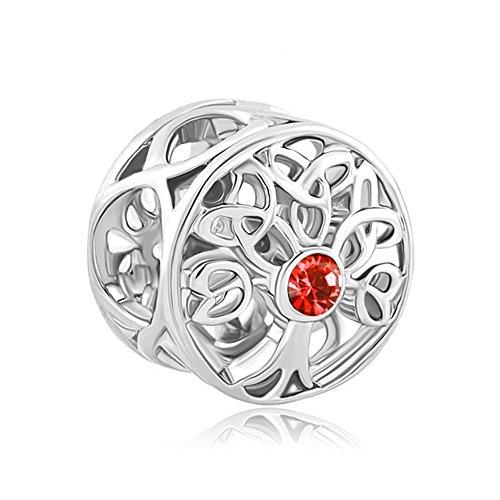 LovelyJewelry Sterling Silver Tree of Life Celtic Knot Charm JAN-DEC Birthstone Beads For Bracelet (JULY Birthstone) ()