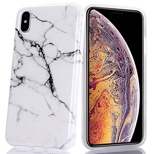 BAISRKE White & Black Marble Design Slim Flexible Soft Silicone Bumper Shockproof Gel TPU Rubber Glossy Skin Cover Phone Case for iPhone Xs Max 2018 [6.5 inch]