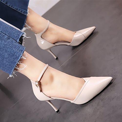 tacco singole calzature a semplice di YMFIE scarpe elegante lavoro punta moda sottile col scarpe alta di ed Alla per lacca Hq1waOZ