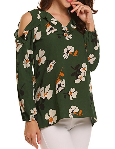 Easther Womens Long Sleeve O Neck Floral Print Chiffon Blouses Top Sexy Cold Shoulder Shirts For Women Green Medium