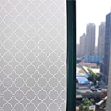 Decorative Privacy Windows Film Sticker Clover Pattern Window Cling Paper For Home and Office17.7x78.7-Inch