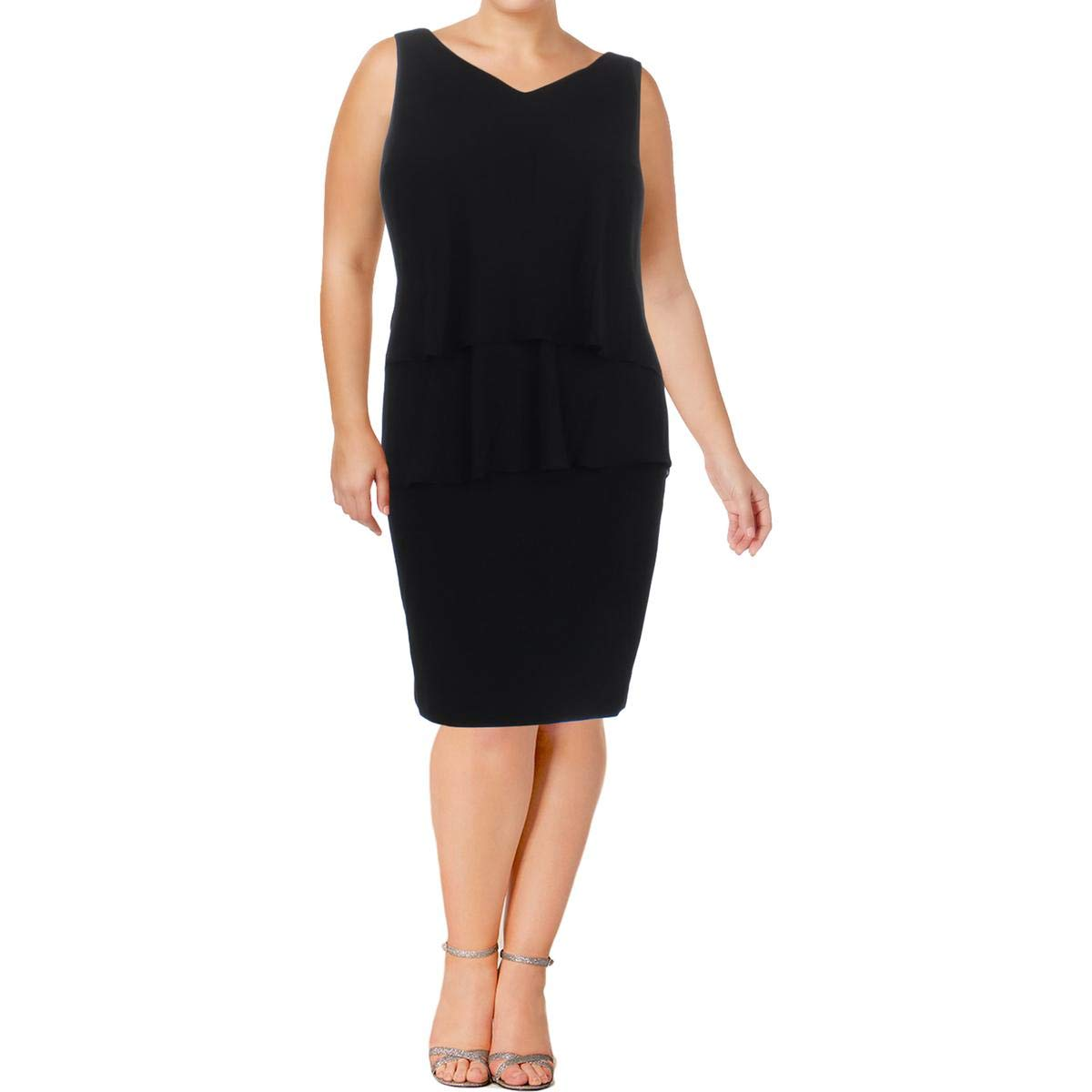 Lauren Ralph Lauren Womens Plus Sleeveless Evening Cocktail Dress Black 22W