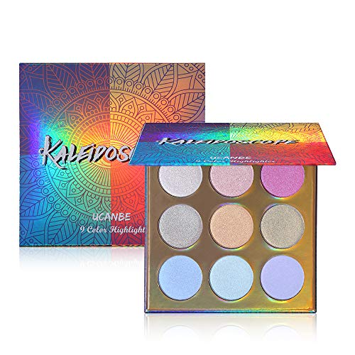 (UCANBE Kaleidoscope Holographic Highlighter Makeup Palette Kit, 9 Color Polarized Shimmer Illuminating Glow Highlighting Bronzers Powder Set, Laser Outer Packaging with Mirror Cosmetics)