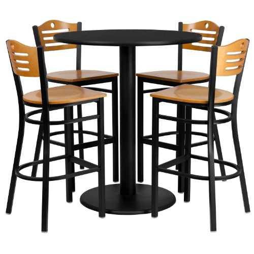 Flash Furniture 36'' Round Black Laminate Table Set with 4 Wood Slat Back Metal Barstools - Natural Wood Seat - Laminate Pub Table