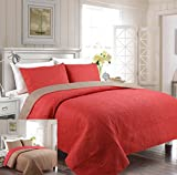 Fancy Collection 3pc Luxury Bedspread Coverlet Embossed Bed Cover Solid Reversible Terracotta /Taupe Over Size New King/California King 118'' x 106''