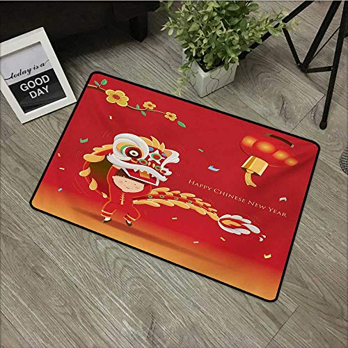 Interior mat W16 x L24 INCH Chinese New Year,Little Boy Performing Lion Dance with The Costume Flowering Branch Lantern,Multicolor Non-Slip Door Mat Carpet -