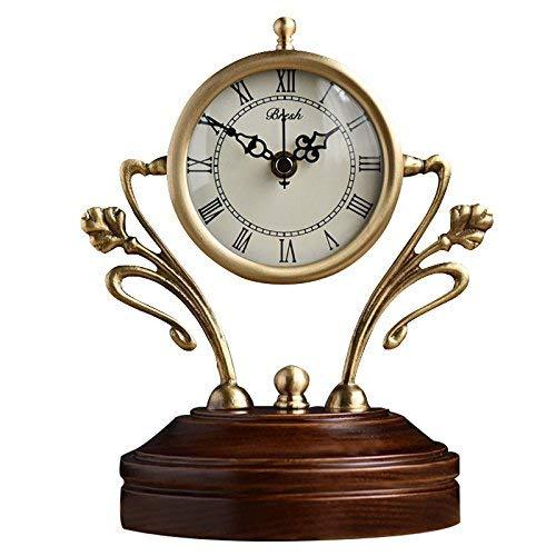 デスククロックファミリークロックマンテルクロックリビングルームの寝室創造性純銅クォーツ時計デスクトップの装飾17.5×14.5×22センチメートルリビングルームの寝室のオフィスに適して B07TD82LPZ