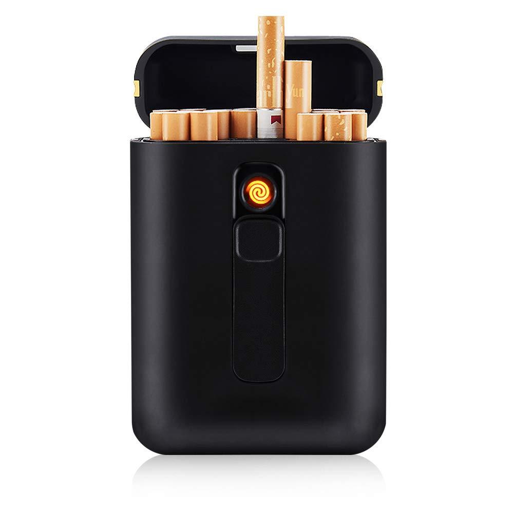 SANSH Zigarettenetui mit Feuerzeug Zigaretten Box 20 St/ück Normale Zigaretten tragbar King Size Zigaretten USB Feuerzeuge 2 in 1 wiederaufladbar flammenlos Winddicht Elektrisches Feuerzeug