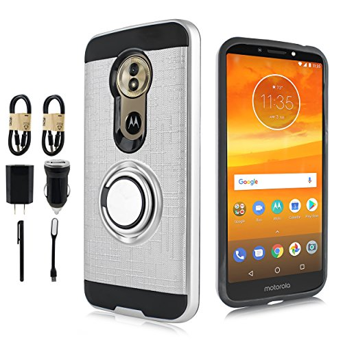 Moto G6 Case, Moto G (6th Generation) Phone Case, Magnet Mount Ready Grip Pattern Kickstand Slim Shock Bumper Cover Motorola Moto G6 5.7 Inch [Value Bundle] (Silver)