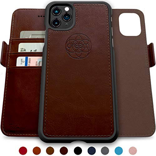 Dreem Fibonacci 2-in-1 Wallet-Case for iPhone 11 Pro, Magnetic Detachable Shock-Proof TPU Slim-Case, RFID Protection, 2-Way Stand, Luxury Vegan Leather, Gift-Box - Coffee