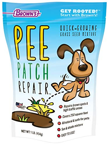 F.M. Brown's Pee Patch Repair Quick-Growing Grass Seed Mixture, Perennial, Sun and Shade, All-Natural, Chemical-Free, 1 lb