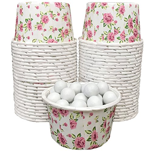 Candy Nut Mini Baking Paper Treat Cups - Floral Pattern - Pink and White - 48 Pack]()