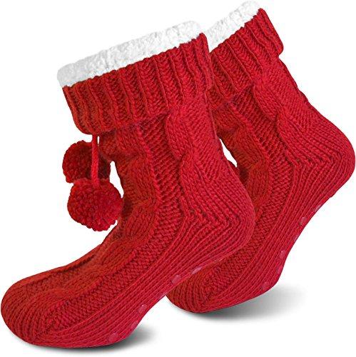 Damen Kuschel-Hausschuhe mit ABS in versch. Farben - Super flauschige Damenhausschuhe - Qualität von normani® Rot