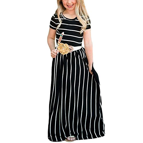 ses Short Sleeve Striped Empire Waist Long Dress with Pockets Black-XL ()