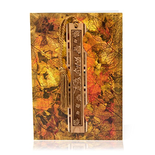 Autumn Bookmark (Greeting Card With Autumn Leaves Artwork Combined With Solid Wood Bookmark - A Fun Gift and Card All-In-One)