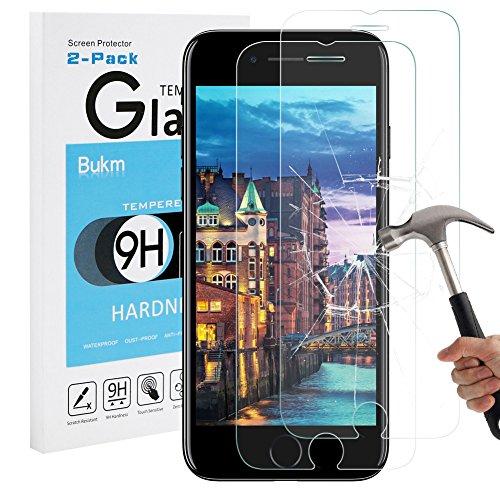 iPhone 8 Plus 7 Plus Schutzfolie Panzerglas , Bukm [2 Stück] iPhone 8 Plus Panzerglas Glas Displayschutzfolie Schutzglas Displayschutz Screen Protector für iPhone 8 Plus[0.25mm 2.5D 9H Härtegrad]