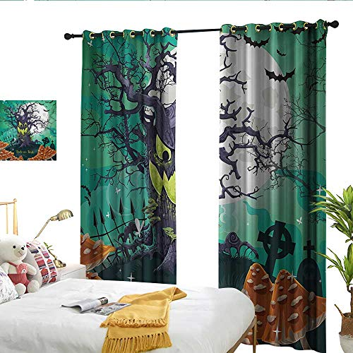 Perfectble Halloween Trick or Treat Dead Forest with Spooky Tree Graves Big Kids Cartoon Art Print Multicolor denoise Drapes ()
