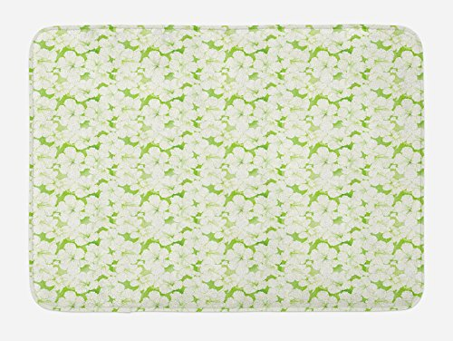 Lunarable Green and White Bath Mat, Flower Silhouettes Indigenous Hawaii Hibiscuses Arrangement, Plush Bathroom Decor Mat with Non Slip Backing, 29.5