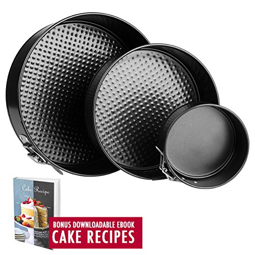 Springform Pan Baking Pans - Set of 3 Pcs 4'' / 7''/ 9'' Non-Stick Leakproof Cake Pans - Heat Resistant Carbon Steel Cheesecake Pan with Removable Bottom and Quick-Release, Cake Recipe Ebook Included by Springcake