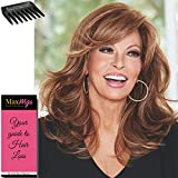 Curve Appeal Lace front Color RL8/29 HAZELNUT - Raquel Welch Wigs 12'' Long Layered Waves Heat Friendly Women's Synthetic Hand Tied Monofilament Part Bundle with Wig Comb, MaxWigs Hairloss Booklet