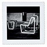 3dRose Alexis Photography - Objects - Metal furniture on the stone embankment. Black and white - 18x18 inch quilt square (qs_270277_7)