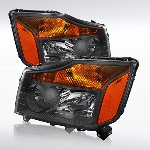(Autozensation For Nissan Titan Armada Pickup Amber Black Crystal Headlights Pair)