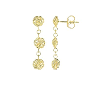 Amazon Com 14k Yellow Gold 27x6mm 3 Hanging Textured Small Flower