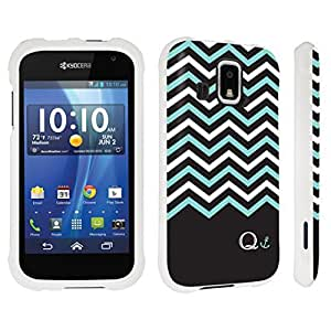 DuroCase ? Kyocera Hydro XTRM C6721 Hard Case White - (Black Mint White Chevron Q)