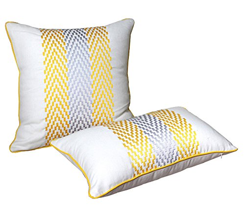 Embroidered Pillow Covers, Cotton Linen Decorative Throw Pil