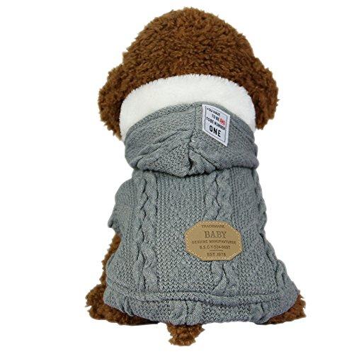 SEHOO애완동물복 스웨터 견복 추동 가# 두껍 도그 웨어 파커 소중형 견방한 (S,그레이)