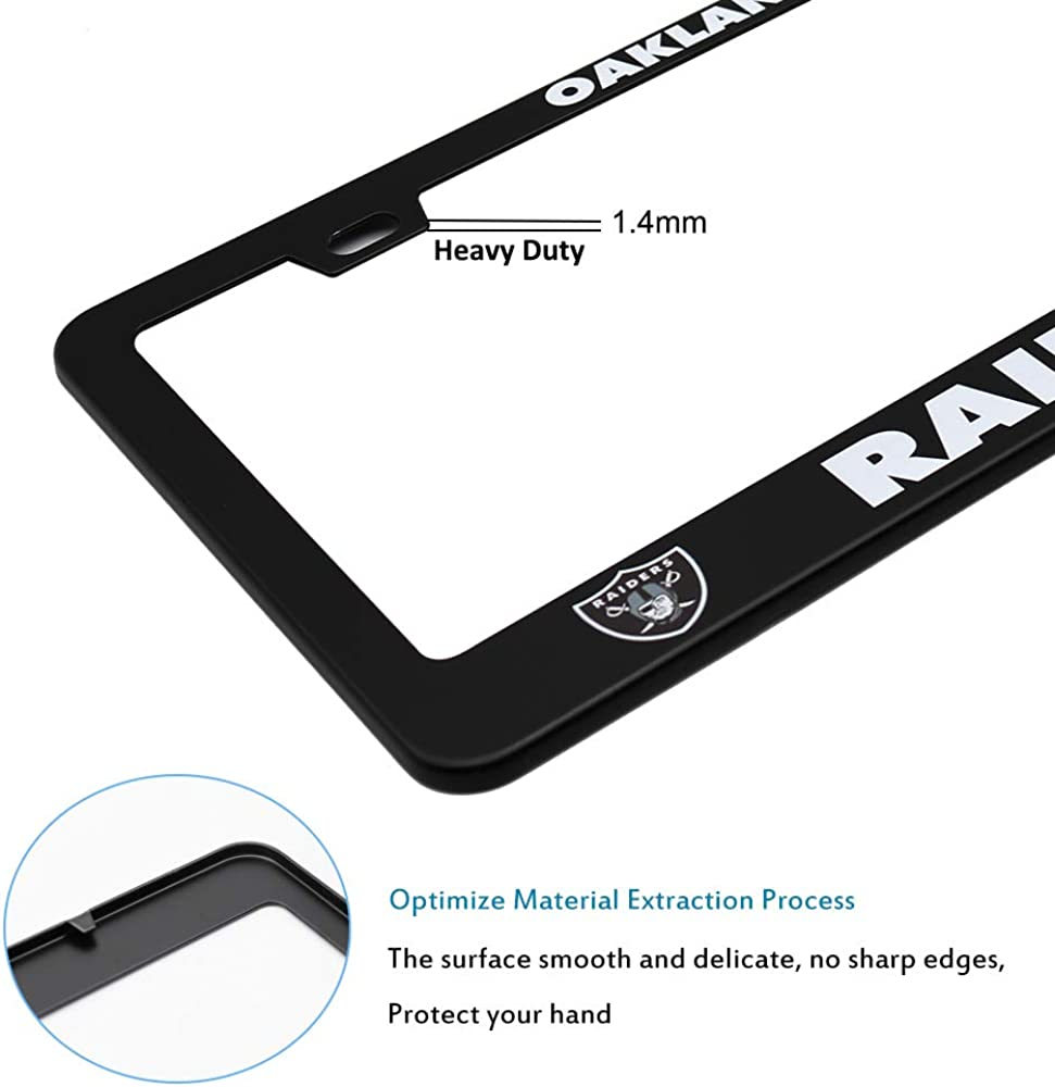 Matte Black Aluminum Alloy License Plate Frame Matching with Screw Cover Set 2PCS NFL License Plate Frames