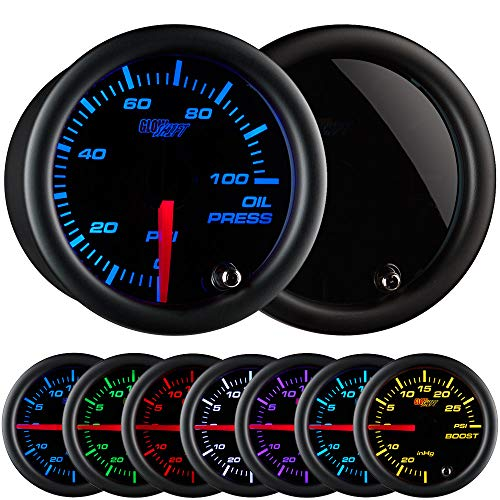 (GlowShift Tinted 7 Color 100 PSI Oil Pressure Gauge Kit - Includes Electronic Sensor - Black Dial - Smoked Lens - For Car & Truck - 2-1/16