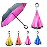 FOREER Inverted Reverse Folding Umbrella - Windproof with C Shaped Handle - Great For Car Rain and Outdoors (Pink)