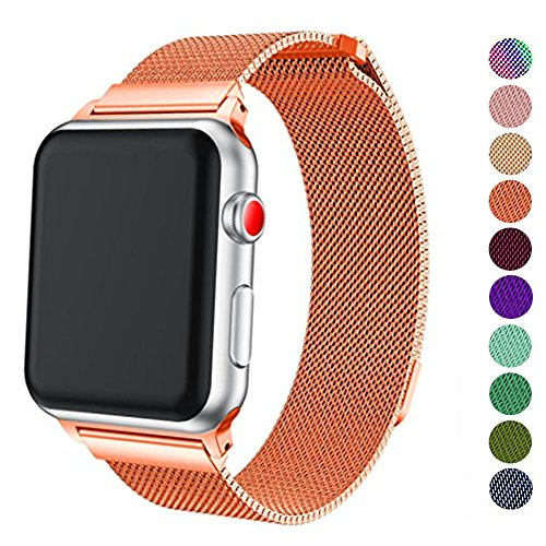 DELELE Compatible for Apple Watch Band 38mm 42mm 40mm 44mm, Milanese Loop Magnetic Metal Replacement Strap with Magnet Lock for Apple iWatch Series 4/3 / 2/1 Women Men (Orange, 42mm/44mm)