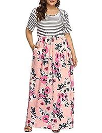 Women's Plus Size Floral Print Striped Patchwork Maxi...