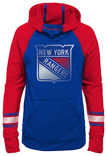 NHL New York Rangers Youth Girls Female Forward Funnel Neck Hoodie, Medium(10-12), - Hoodie Rangers Sweatshirt