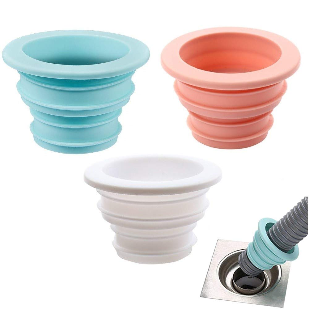 3Pcs Drain Pipe Sewer Seal Rings Deodorant Silicone Ring Washing Machine Sealing Plug for Bathroom Kitchen Cleaning Tools