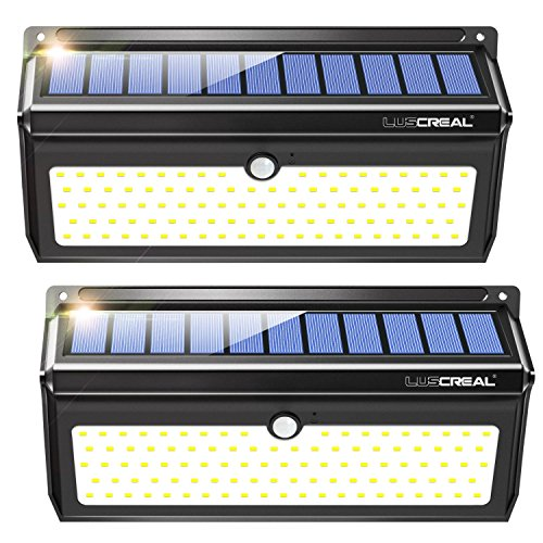 Solar Motion Sensor Lights Outdoor, 100 LED Super Bright Waterproof Wall Light Outside 2 Pack - LUSCREAL