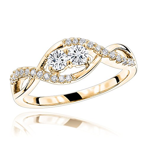 4K Gold 2 Stone Diamond Infinity Ring 0.4ctw G-H color (Yellow Gold, Size 6.5) (Diamond Flower Right Hand Ring)