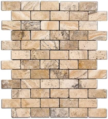 Philadelphia 2 X 4 Tumbled Travertine Brick Mosaic Tile Box Of 5 Sheets Marble Tiles