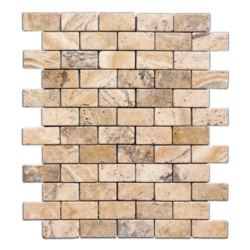 Philadelphia 2 X 4 Tumbled Travertine Brick Mosaic Tile