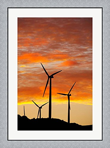 New Zealand, North Island, Te Apiti Wind Farm, Energy by David Wall / Danita Delimont Framed Art Print Wall Picture, Flat Silver Frame, 27 x 36 inches Apiti Wind Farm